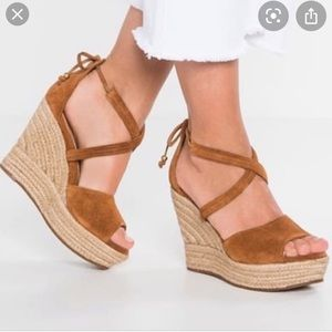 UGG Wedge Reagan Tie Up Espadrille Sandals